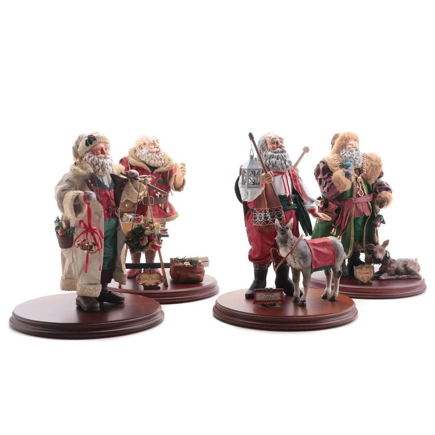 Herr Kristmas, Santa Niccolo,  Père Noël and Santa España Papier-Mâché Figurines
