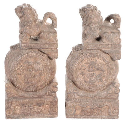 Chinese Carved Stone Shishi Guardian Lions on Drum Pedestals