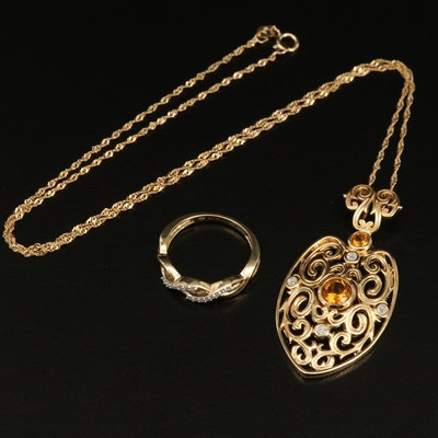 Sterling Ring and Pendant Necklace Including Citrine and Diamond