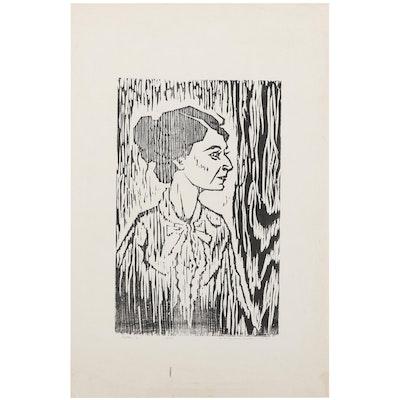 "H. H. Zwonechek Woodcut of Woman's Portrait ""Mlle. S.,"" 1959"