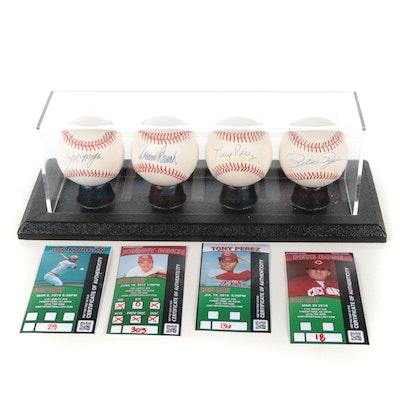 Bench, Morgan, Rose and Perez Signed National League Baseballs in Display, COAs