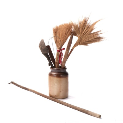 Salt Glazed Stoneware Crock with Other Primitive Wooden Hand Tools