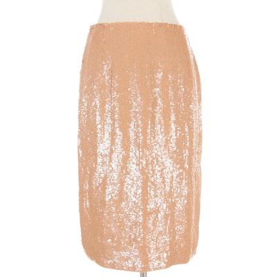 Carolina Herrera New York Nude Sequin Pencil Skirt