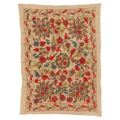 Central Asian Embroidered Suzani Style Wall Hanging