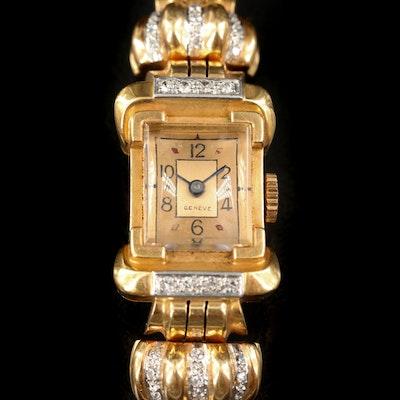 18K Swiss Stem Wind Diamond Wristwatch