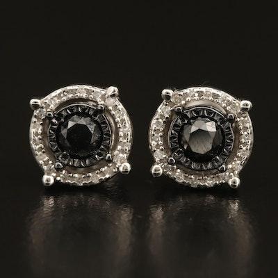 Sterling Diamond Halo Stud Earrings