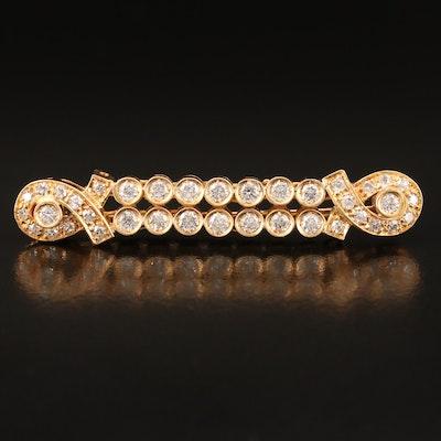 18K 1.01 CTW Diamond Bar Brooch