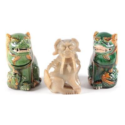 Chinese Carved Soapstone and Sancai Glazed Ceramic Guardian Lion Figurines