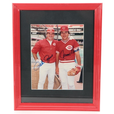 Pete Rose and Johnny Bench Signed and Framed Photo Print, ALOA