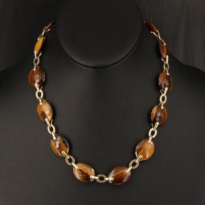 Judith Ripka 18K Tiger's Eye and 3.96 CTW Diamond Necklace