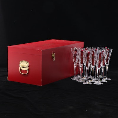 """Waterford Limited Edition """"Twelve Days of Christmas"""" Crystal Flutes in Trunk"""