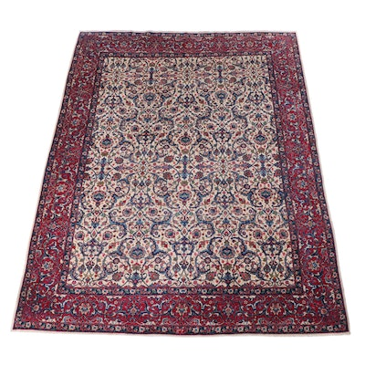 10'1 x 12'11 Hand-Knotted Persian Isfahan Room Sized Rug