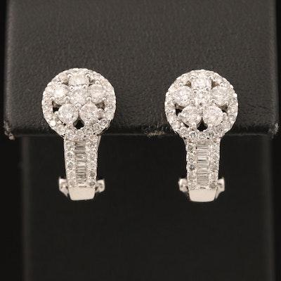 14K 1.90 CTW Diamond J Hoop Earrings