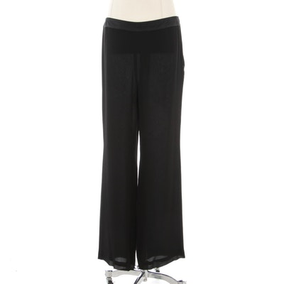 Akris Evening Pants in Black Silk Chiffon with Satin Waistband