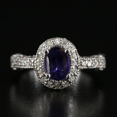 14K Sapphire and 1.12 CTW Diamond Halo Ring