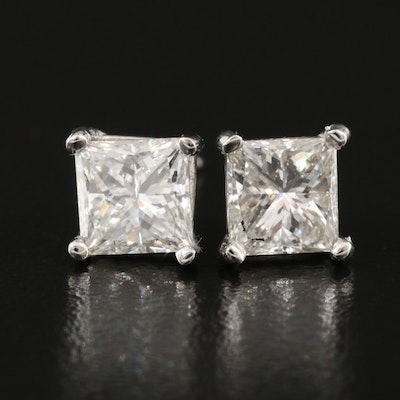 Platinum 2.13 CTW Diamond Stud Earrings with GIA Dossier and eReport