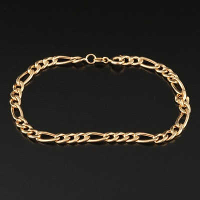Italian 18K Figaro Chain Bracelet