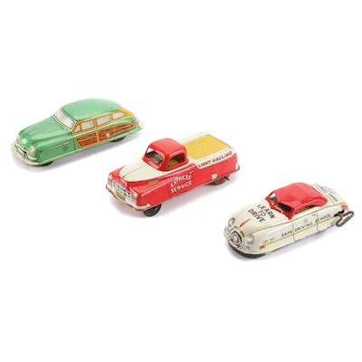 """Marx """"Safe Driving School"""" Car and Other Tin Litho Wind-Up Cars, Mid-20th C."""