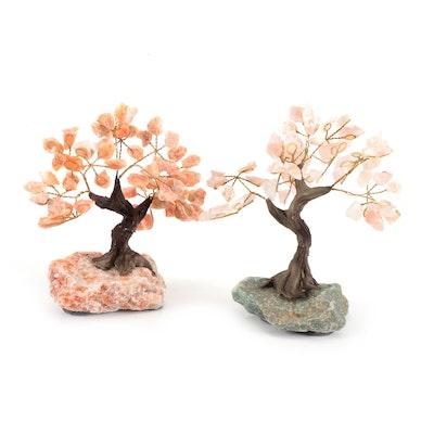 Rose Quartz, Carnelian and Aventurine Wire Wrapped Tree Figurines