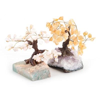 Quartz, Amethyst and Citrine Gemstone and Wire Work Bonsai Trees