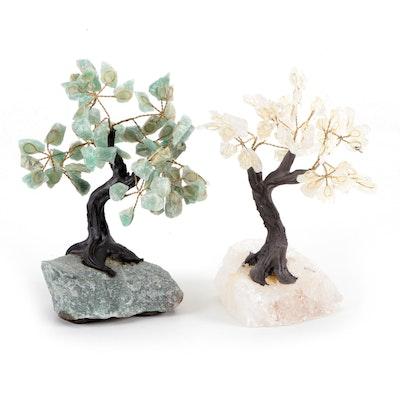 Quartz and Aventurine Wire Work Bonsai Tree Figurines