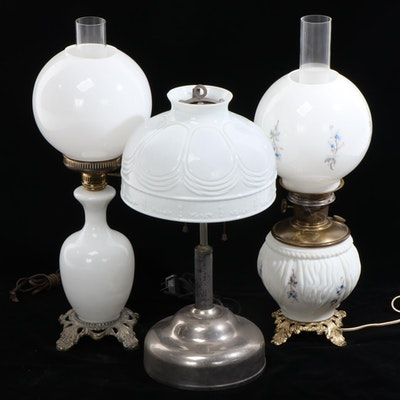 Coleman, Aladdin and Other Milk Glass Converted Oil Lamps  Lamp