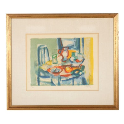 Marcel Mouly Modernist Still Life Color Lithograph, Mid to Late 20th Century