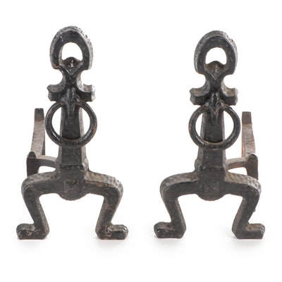 Pair of Footed Cast Iron Andirons, Early 20th Century
