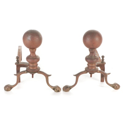 Chippendale Style Cannonball Andirons, Early to Mid 20th Century