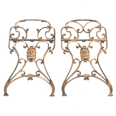 Pair of Gold Painted Lion Motif Cast Iron Outdoor Decorations