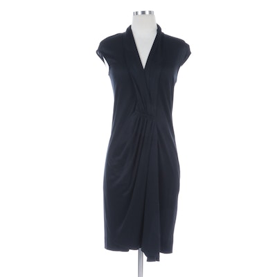Akris Ruched Black Silk Knit Dress with V-Cut Neckline and Cap Sleeves