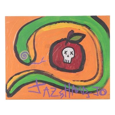"Jazz Hands Jo Folk Art Acrylic Painting ""The Apple + The Snake"""