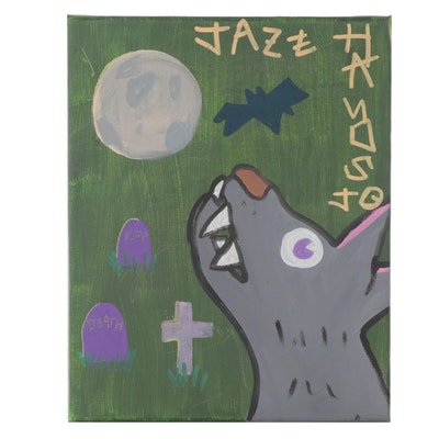 "Jazz Hands Jo Folk Art Acrylic Painting ""The Alpha"""