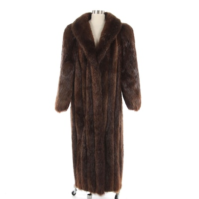 Beaver Fur Full-Length Coat with Shawl Collar from Thomas McElroy Furs
