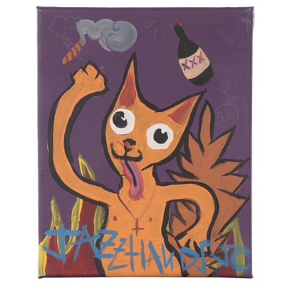 """Jazz Hands Jo Folk Art Acrylic Painting """"Crazy Katz"""""""