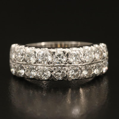 Vintage Platinum 1.80 CTW Diamond Double Row Ring with Knife Edge Shoulders