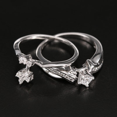 10K 0.64 CTW Diamond Ring Set