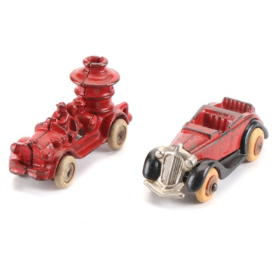 Cast Iron Roadster and Fire Truck, Early 20th Century