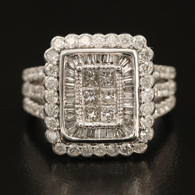 14K 1.86 CTW Diamond Square Ring with Scalloped Edge and Split Shoulders