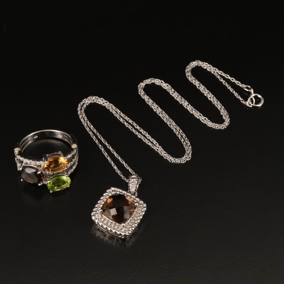 Sterling Ring and Pendant Necklace Including Peridot, Diamond and Smoky Quartz