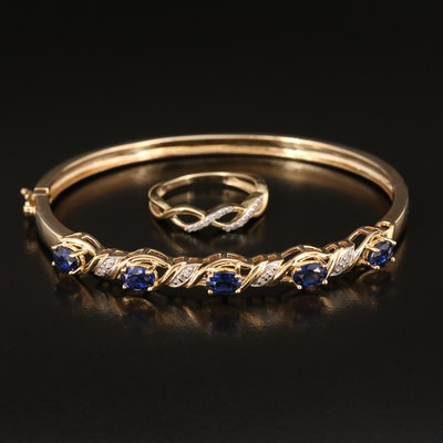 Sterling Diamond Braided Ring with Sapphire and Diamond Braided Hinged Bangle