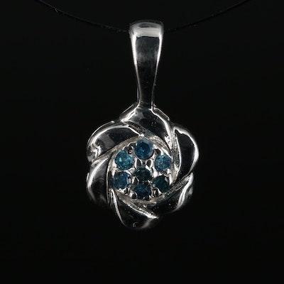 Sterling and Diamond Flower Pendant