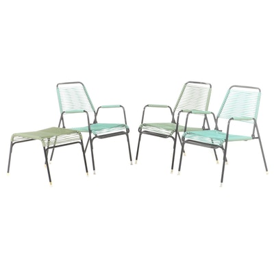 Teal and Green Metal and Woven Plastic Patio Chairs and Ottoman