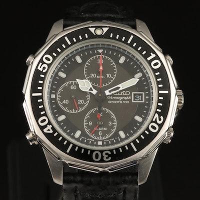 Seiko Sports 100 Chronograph and Alarm Stainless Steel Wristwatch