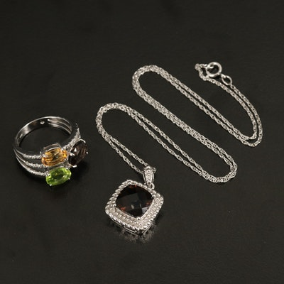 Sterling Smoky Quartz, Peridot, Citrine and Gemstone Pendant Necklace and Ring