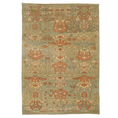 9' x 13' Hand-Knotted Turkish Donegal Style Oushak Room Sized Rug