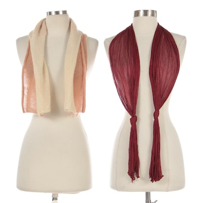 Missoni Orange Label Mohair Blend Scarf and Other Sheer Knit Scarf