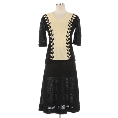 Angie Black Bicolor Foliate Knit Skirt Set