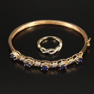 Sterling Hinged Bangle and Ring with Sapphire and Diamond