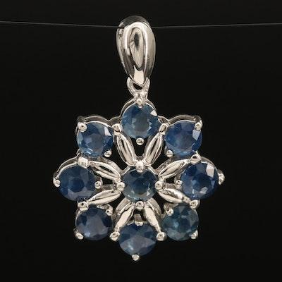 Sterling Sapphire Floral Pendant